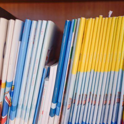 Lernbücher im Regal